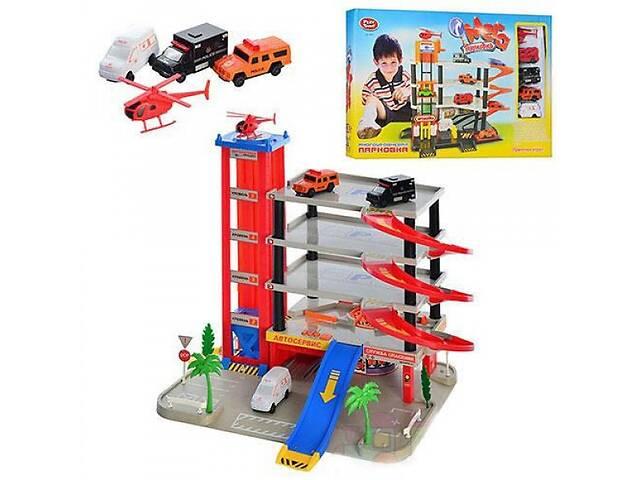 купить бу Игровой набор Паркинг детский гараж Play Smart JOY TOY 5 уровней, 4 машинки, 1 вертолет (0845-RT) в Киеве