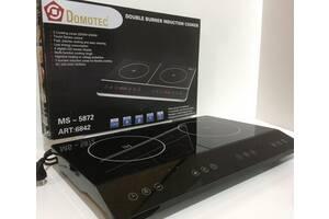 Індукційна плита Domotec MS-5872 на 2 конфорки по 2000 Вт Чорна