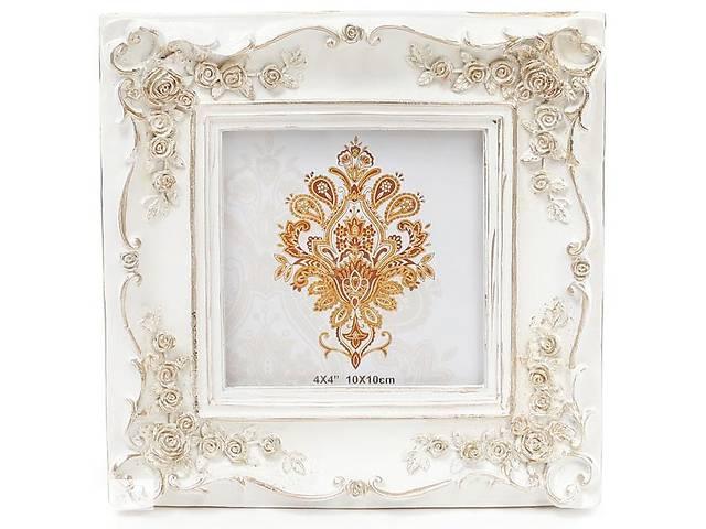 """бу Фоторамка Tudor """"Розы"""" для фото 10х10см (белый с золотом) в Одесі"""