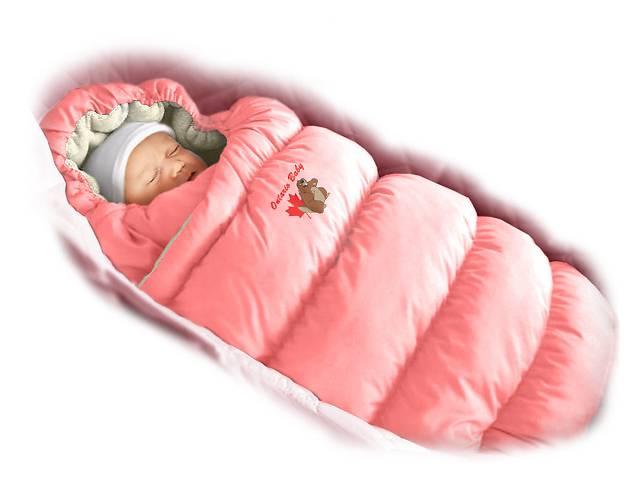 бу Пуховый конверт-трансформер «Inflated» (мех) розовый в Дубно
