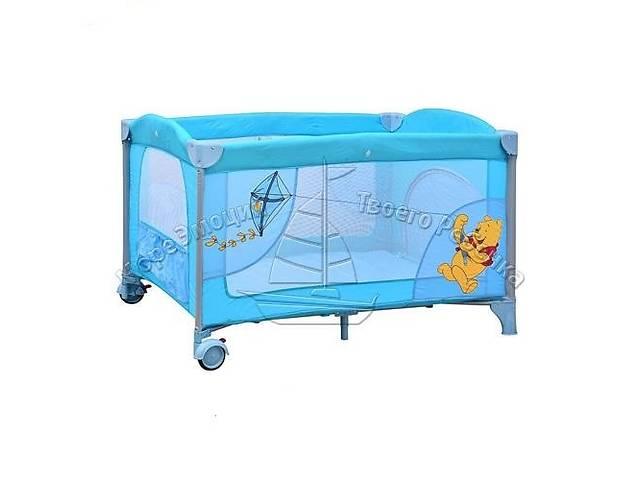 продам Манеж A 03-8 детский 2 колеса с тормозом, боковым карманом, змейкой в сумке сине-голубой бу  в Украине