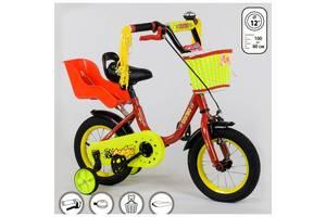 """Велосипед двухколесный CORSO 1294 с корзинками для кукол 12"""" красный"""