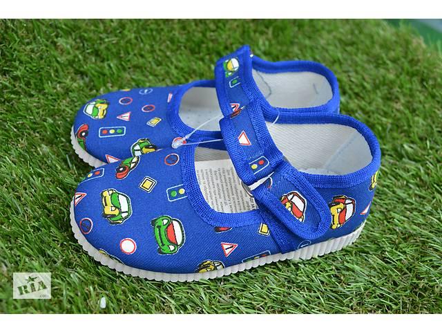 купить бу Детские тапочки сменная обувь принт машинки для сада синие в Южноукраинске