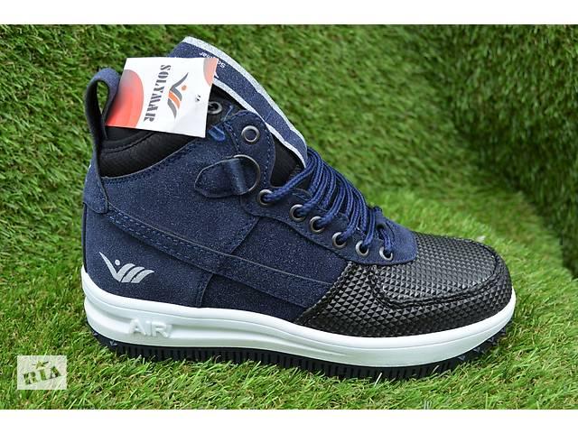продам Кроссовки подростковые аналог найк Nike Air Force высокие темно синие бу в Южноукраинске