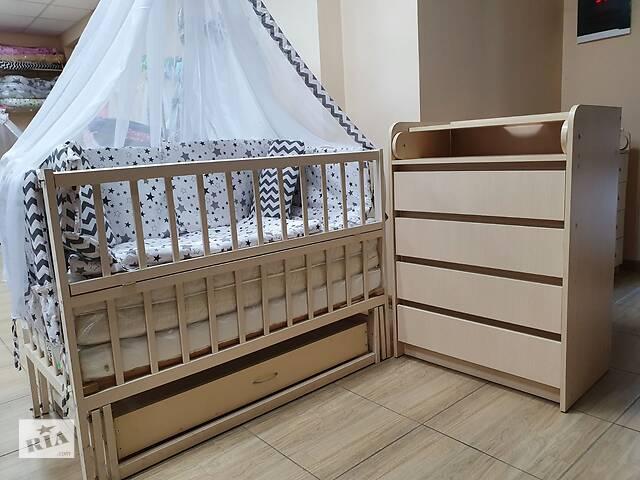 Акция! Комплект: комод пеленальный, кровать маятник, матрас кокос, постель