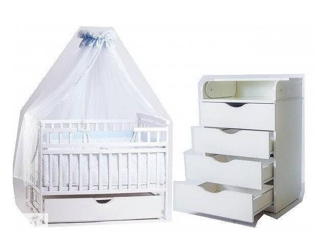 АКЦИЯ!  кроватка Лодочка Де сон + комод + постельный набор 9в1 + матрас Белый