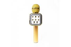 Беспроводной аккумуляторный Bluetooth караоке микрофон Wster WS-1818 Золотой (par_1818_2)