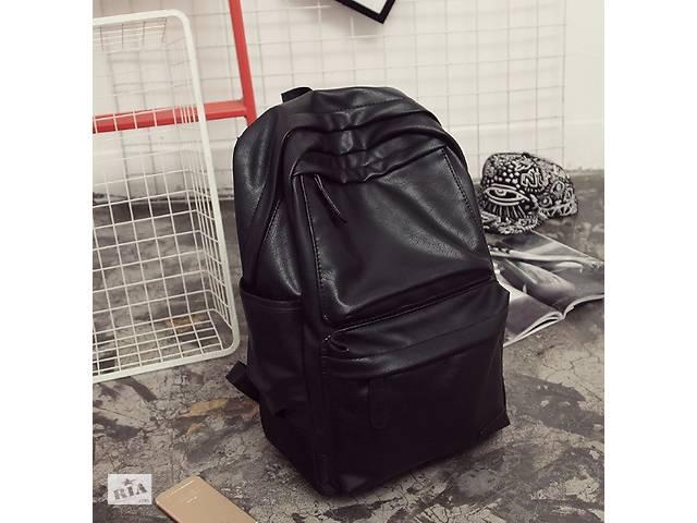 бу Большой мужской рюкзак кожа ПУ + подарок визитница Мужской, Черный в Днепре (Днепропетровск)