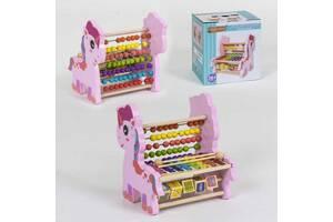 Деревянная развивающая Логическая игра Wood mom С 39240 Единорог ксилофон-счеты