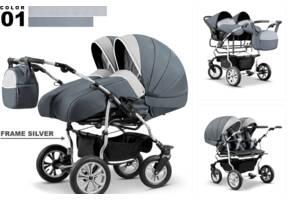 Детская коляска для двойни 2 в 1 польской фирмы Микадо.