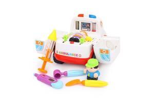 Детская музыкальная обучающая игрушка Hola Toys скорая помощь, белая