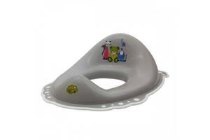 Детская пластиковая накладка на унитаз противоскользящая Maltex, серая. Подарок для малыша.