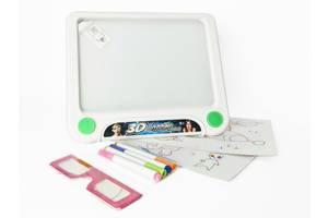 Детская светящаяся доска для рисования 3D на батарейках, белая. Развивающий подарок для детей от 3 лет.