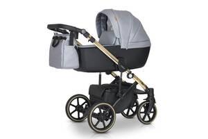Детская универсальна коляска 3в1 Verdi Verso Gold G02 из эко-кожи на алюминиевой раме, серый