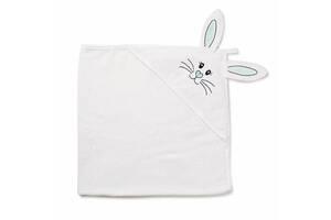"""Детское махровое полотенце-уголок с капюшоном для новорожденных Twins """"Зайчик"""" после купание, 100x100, белый"""