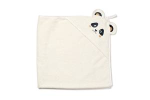 """Детское махровое полотенце-уголок с капюшоном для новорожденных Twins """"Панда"""" после купание, 100x100, бежевый"""