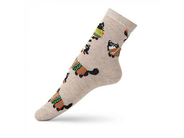 купить бу Детские носки с рисунком кота в свитере VT Socks Св.бежевый меланж, размер 22-24 в Киеве