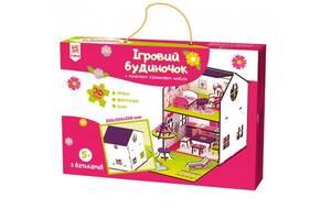 Детский деревянный игровой набор Домик-конструктор для кукол Zirka с мебелью, 3D конструктор