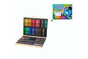 Детский набор художника в деревянном чемоданчике OEM 251 предметов + подарок (NR000004)