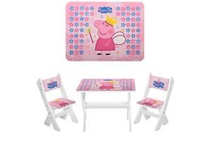 Дитячий стіл з двома стільчиками Bambi М 2100-02 Peppa Pig білий ***