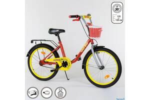Двоколісний дитячий велосипед 20 дюймів CORSO 2093 червоно-жовтий з кошиком
