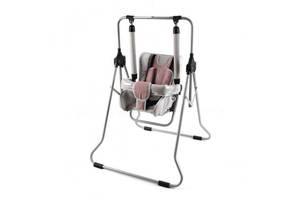 Качель для новорожденных девочек напольная со съемным столиком детская Adbor N1 01, розовая. Подарок грудничку