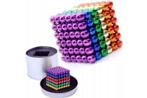 Конструктор головоломка Neocube 216 шариков в боксе, неокуб цветной (Радуга) 5мм
