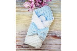 Конверт  для новорожденных  теплый плюшевый Минки двухсторонний бело/голубой осень/зима