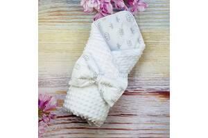 Конверт урочистий на виписку для новонароджених в пологовий будинок деми / зима плюшевий Минки двосторонній білий