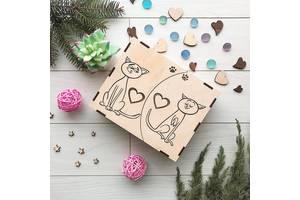 Коробка-трансформер из дерева 7Arts Влюбленные коты (BOX-0034)