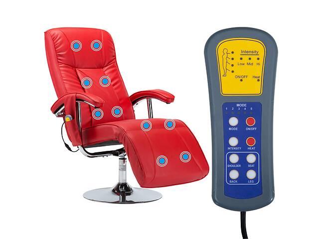 купить бу Кресло массажное с подставкой vidaXL 248596 эко-кожа красный в Львове