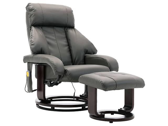 бу Кресло массажное с пуфиком для ног эко-кожа 248680 серый в Львове