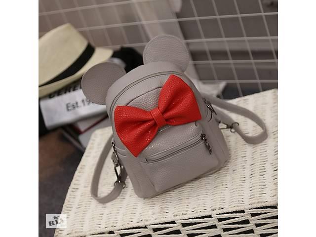Маленький детский рюкзак с ушами Серый с красным- объявление о продаже  в Днепре (Днепропетровск)