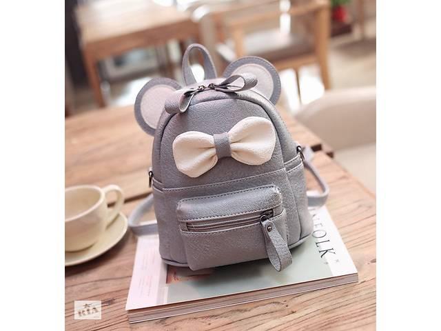 купить бу Маленький детский рюкзак сумочка Микки Маус с ушками. Мини рюкзачок сумка для ребенка 2 в 1 Серый в Днепре (Днепропетровск)