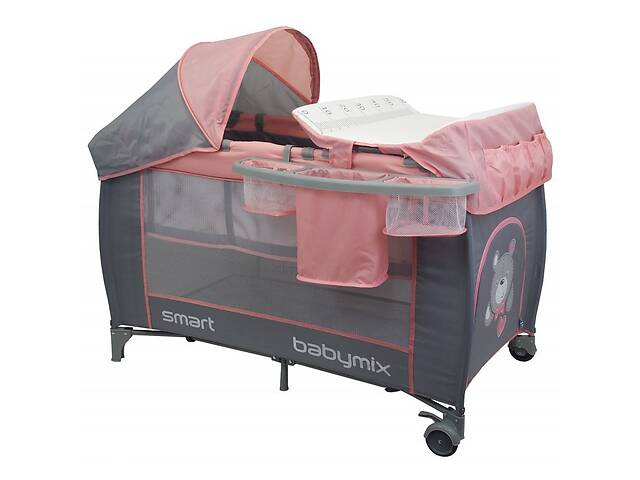 продам Манеж кровать с люлькой и пеленальным столиком для новорожденных Baby Mix De Lux HR-8052-302 120х60 см розовый бу в Киеве
