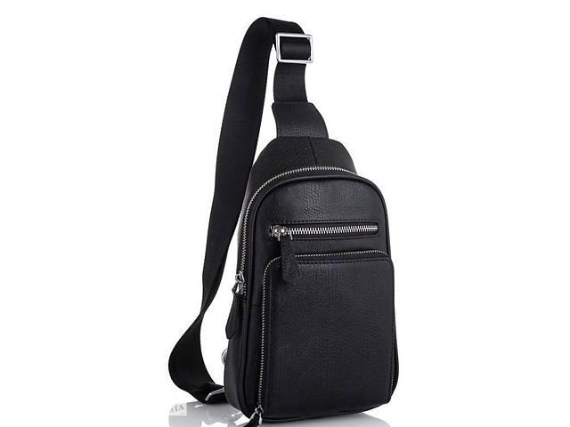 Мужской кожаный рюкзак на одно плечо Tiding Bag 3 л, черный- объявление о продаже  в Киеве