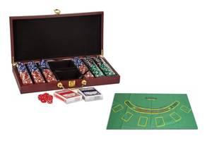 Набор для покера 300 фишек с номиналом и сукном в деревянном кейсе Kronos Toys Poker Game Set (spr_11070)
