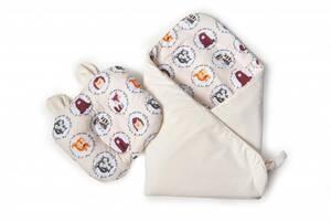 Набор конверт-плед с ортопедической подушкой Twins Bear, 100х100 см., бежевый