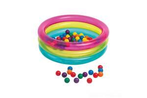 Надувной бассейн для детей от 1 года в комплекте 50 шариков Intex 48674 (размер 86*25 см) (объем 68 л)
