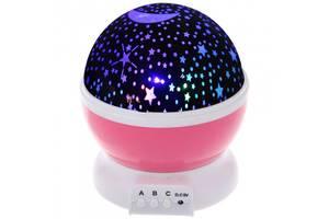 Ночник светильник StarMaster проектор звездного неба светодиодный три режима работы 14.5 см Розовый (hub_viZn70066)