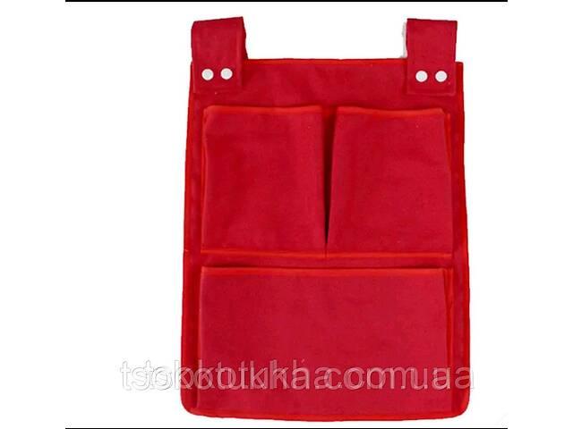 Органайзер с карманами на детскую кроватку, манеж. Холщевый. Красный- объявление о продаже   в Украине