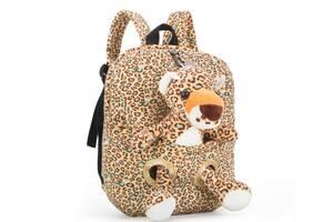 Оригинальный тканевый рюкзак с мягкой игрушкой в кармане Ягуар