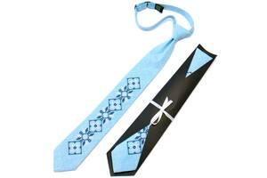 Подростковая галстук с вышивкой голубая №717