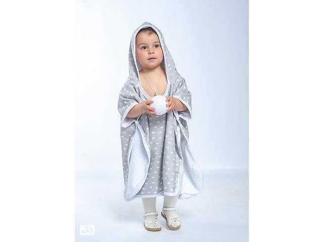 продам Пончо-полотенце детское двусторонное с капюшоном Twins до 5 лет (80х140 см) 100% хлопок, серый бу в Киеве