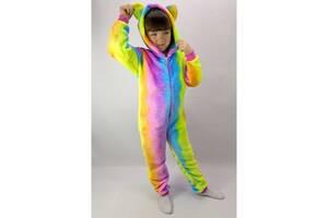 Пижама Кигуруми детский на молнии с капюшоном Радуга 28 р. рост 98-104 см (zolk_15-7-89-28)