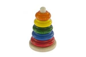 Развивающая игрушка nic Пирамидка деревянная классическая разноцветная (NIC2310)