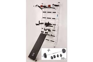 Шведська стінка RN-Sport Pro Вертикаль 11-Z + Штанга і гантелі 50 кг (rns_Vertical11Z50kg)