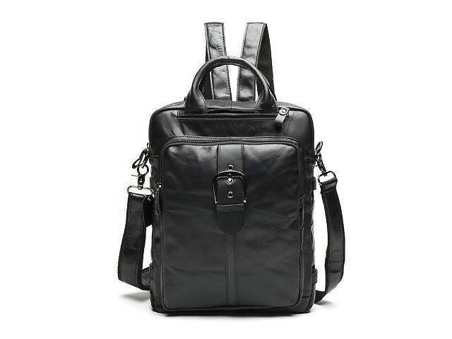 купить бу Сумка-рюкзак 2 в 1 мужская кожаная вертикальная с хлястиком Vintage 14790 Черная, Черный в Киеве