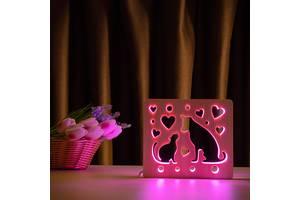 Светильник ночник из дерева LED с пультом и регулировкой цвета RGB Кот и пес Arteco Light (1020475)