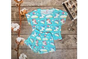 Трикотажная женская пижама футболка с шортами  Единороги голубой,  M